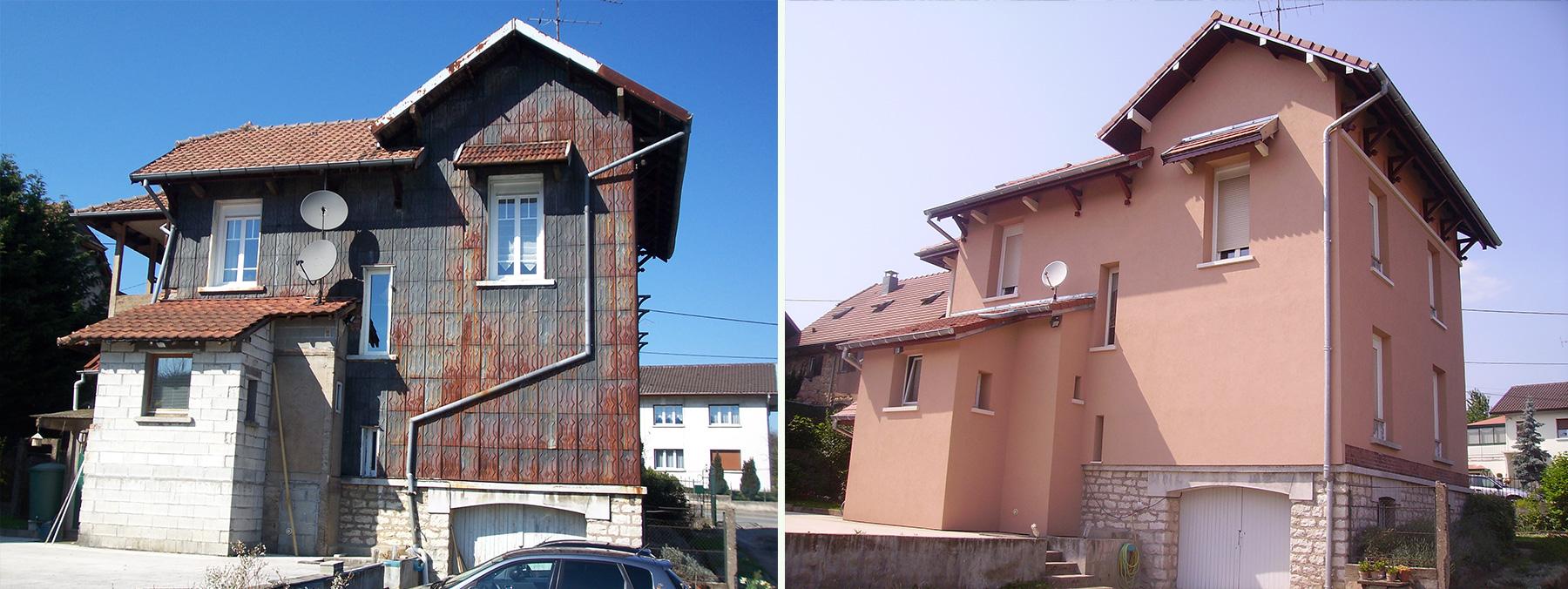 Ravalement de façade avant-après